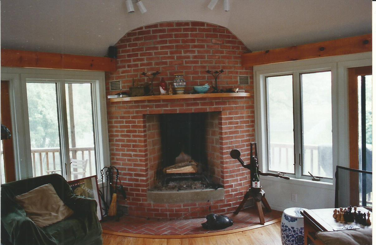 Mumford Fireplace with Curved Red Brick Face & Hearth